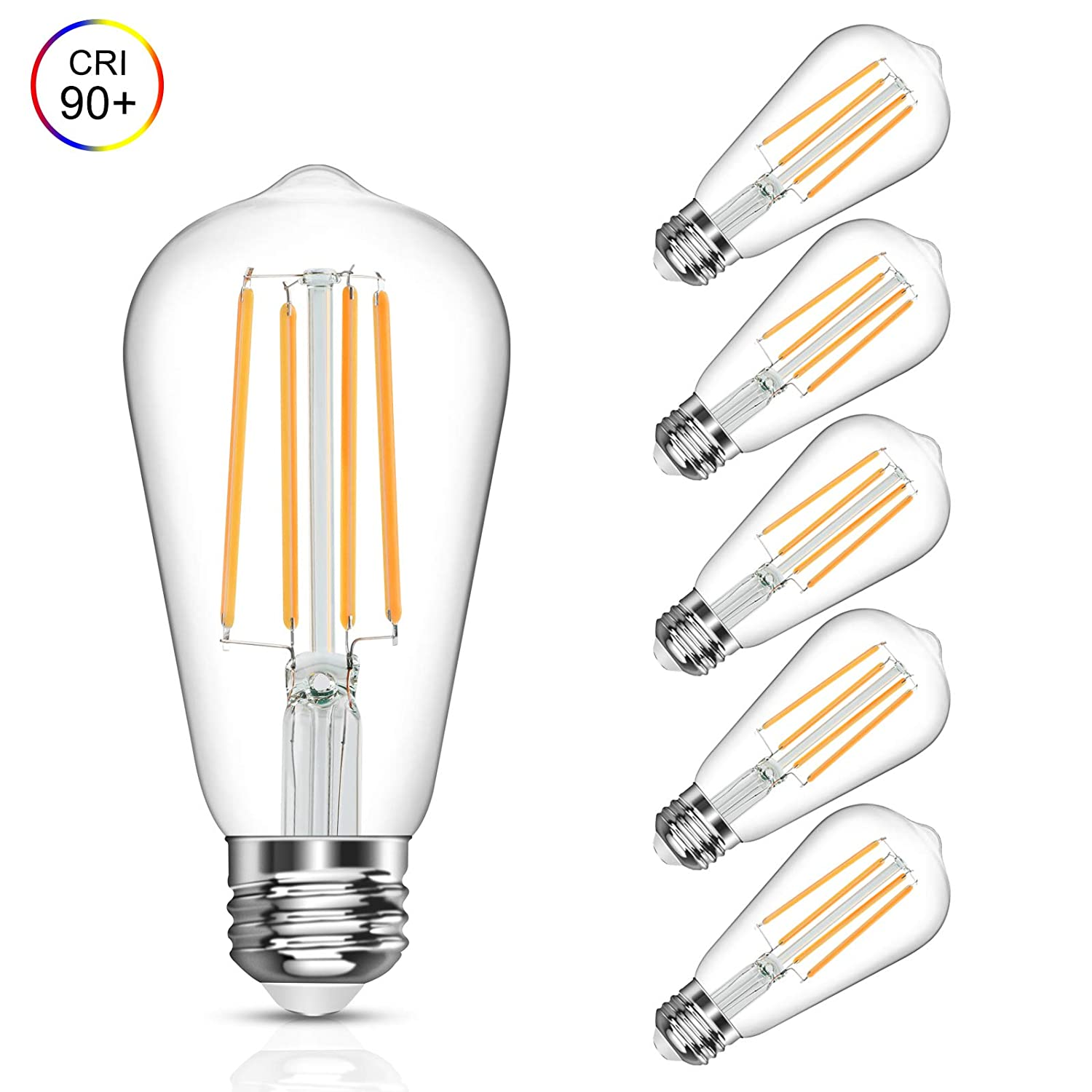 Vintage LED Edison Bulb, 6W, Equivalent 60W, Soft White 2700k, Non-Dimmable Led Filament Light Bulb, E26 Base, High CRI 90 Eye Protection Led Bulb, Clear Glass for Home Bathroom Kitchen, Pack of 5