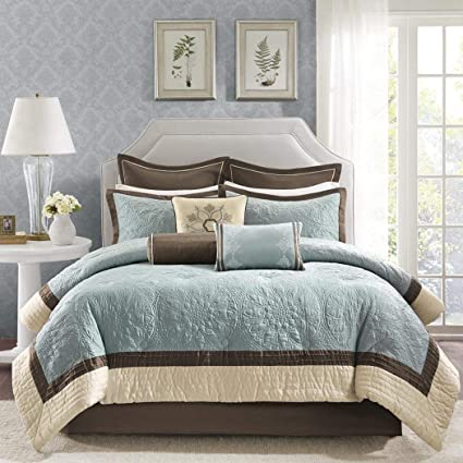 Blue And Brown Bedding Sets.9 Piece Comforter Set Embroidered Floral Beautiful In Blue Color Exciting Bedding And Make Graceful Ambiance King