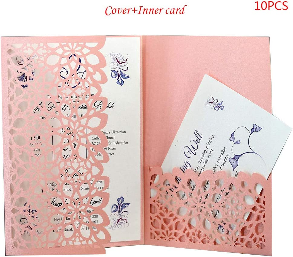 Amazon Com Kukale 10pcs Set Cut Hollow Luxury Floral Wedding Invitations Card Elegant Lace Favor Print Wedding Party Decoration Home Kitchen