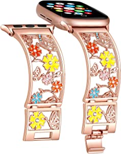 Duoan Butterfly Bracelet Compatible with Apple Watch Band 38mm 40mm 42mm 44mm iWatch Bands Series 6 5 4, Bling Crystal Floral Strap Hollow Metal Cuff, Chic Women Jewelry Wristband(42mm/44mm Rose Gold)