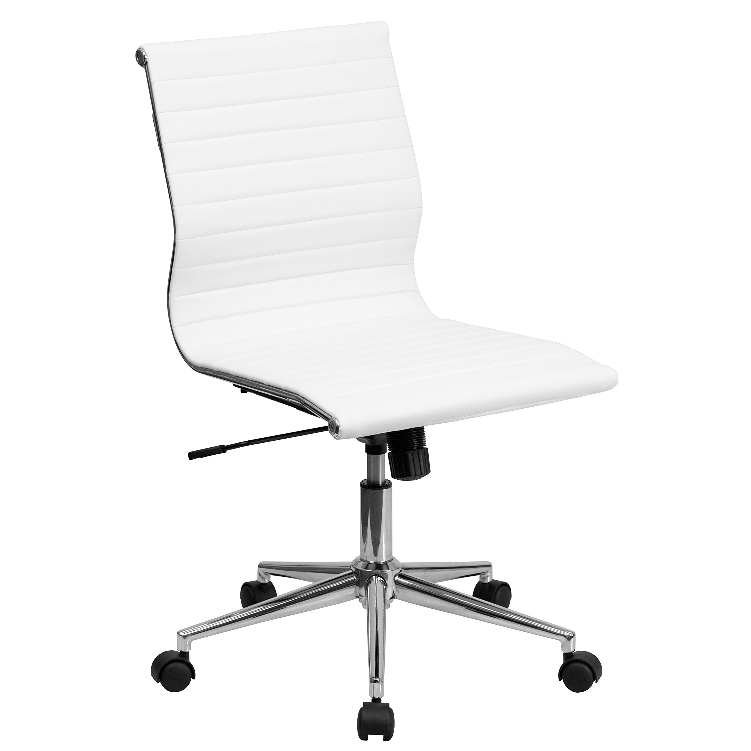 Flash Furniture Mid-Back Armless White Ribbed Leather Swivel Conference Chair by Flash Furniture