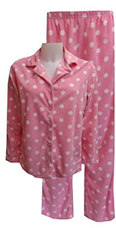 Pink Polka Dot Fleece Pajama Set for women (1X) at Amazon Women's ...