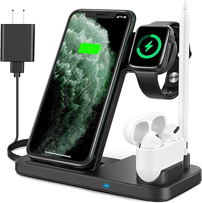 Wireless Charger, Qi Fold Fast 4 in 1 Wireless Chargering Stand Pad for iPhone 11/11 pro/11 pro Max/X/XS/XR/Xs Max / 8/8 Plus/Apple Watch Pencil Earbuds Airpods Pro and Samsung Phone
