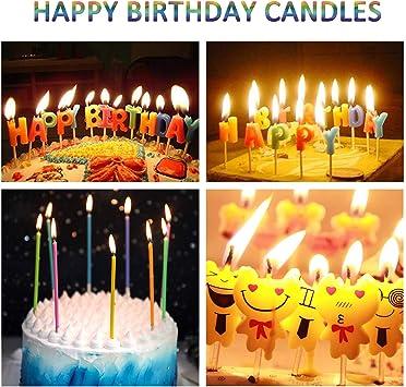 Fabulous Amazon Com Wanj 28 Pcs Birthday Cake Candles Incl Emoji Birthday Personalised Birthday Cards Akebfashionlily Jamesorg