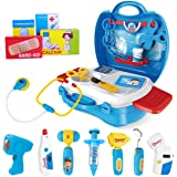iBaseToy Doctor Kit for Kids, 27Pcs Pretend Medical Doctor Medical Playset with Electronic Stethoscope, Medical Kits Gift, Ed