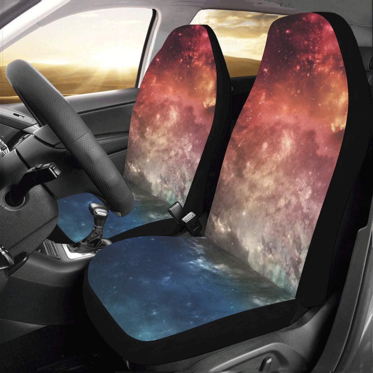 InterestPrint Universal Space Galaxy Two Front Car Seat Covers Set -100% Breathable