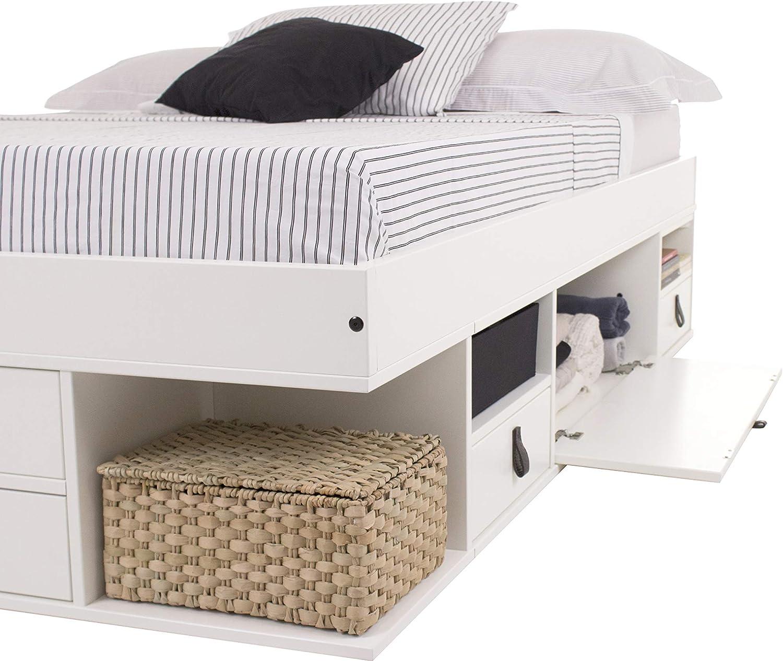 Cama Funcional Bali 140x200 cm Blanco - Estructura con Mucho Espacio de almacenaje y cajones, Ideal para dormitorios pequeños - Madera Maciza de Pino ...