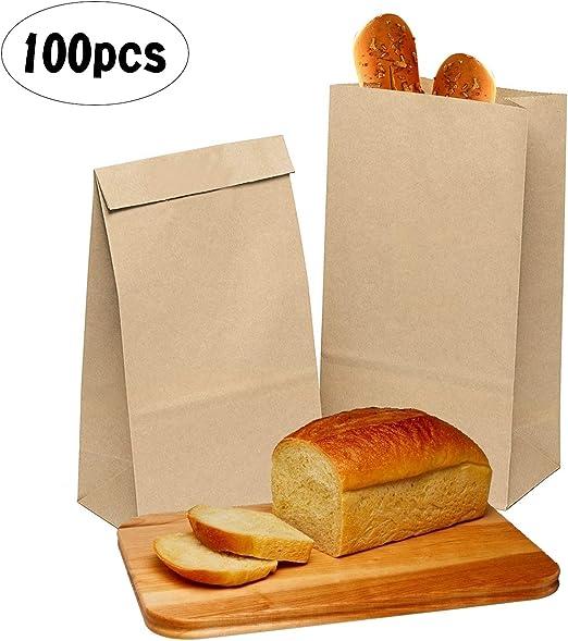 ZJW 100 Piezas Bolsas Papel Kraft de Alimentos, Bolsas de Papel ...
