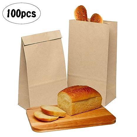 ZJW 100 Piezas Bolsas Papel Kraft de Alimentos, Bolsas de ...
