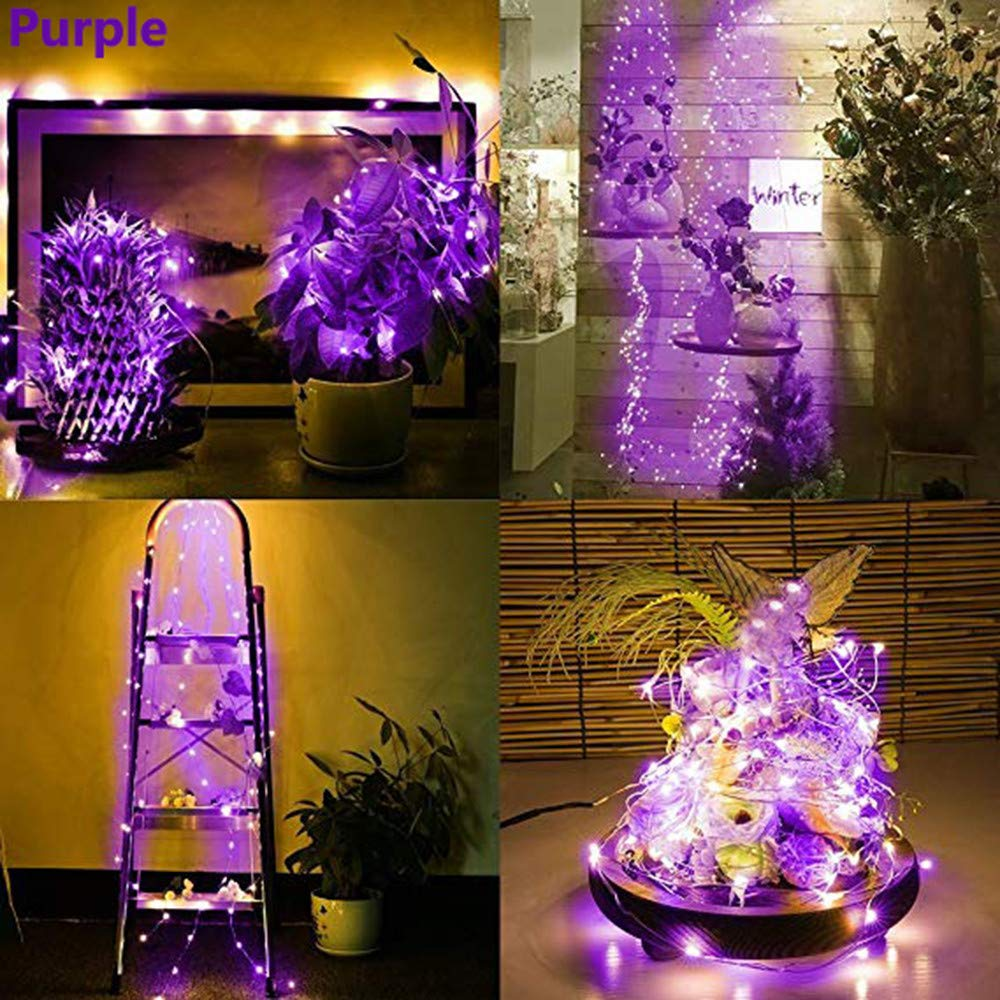 Solar LED String Light, Elevin(TM) 2M 20LED Solar Cork Wine Bottle Stopper Copper Wire String Lights Fairy Lamps (Purple)