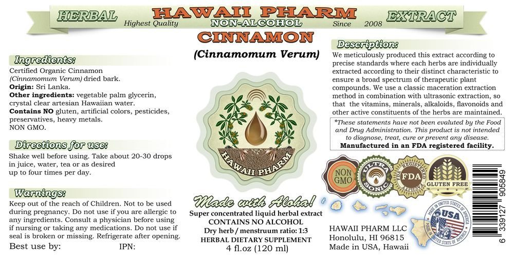 Cinnamon Alcohol-FREE Liquid Extract, Cinnamon Cinnamomum Verum Dried Bark Glycerite Hawaii Pharm Natural Herbal Supplement 32 oz Unfiltered