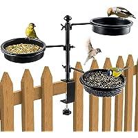 BOLITE 18046 Deck Bird Feeder with Three Trays, Balcony Railing Bird Feeders for Outside, Black