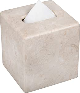 Creative Home Natural Champagne Marble Square Tissue Box Holder Tissue Paper Cover, Beige