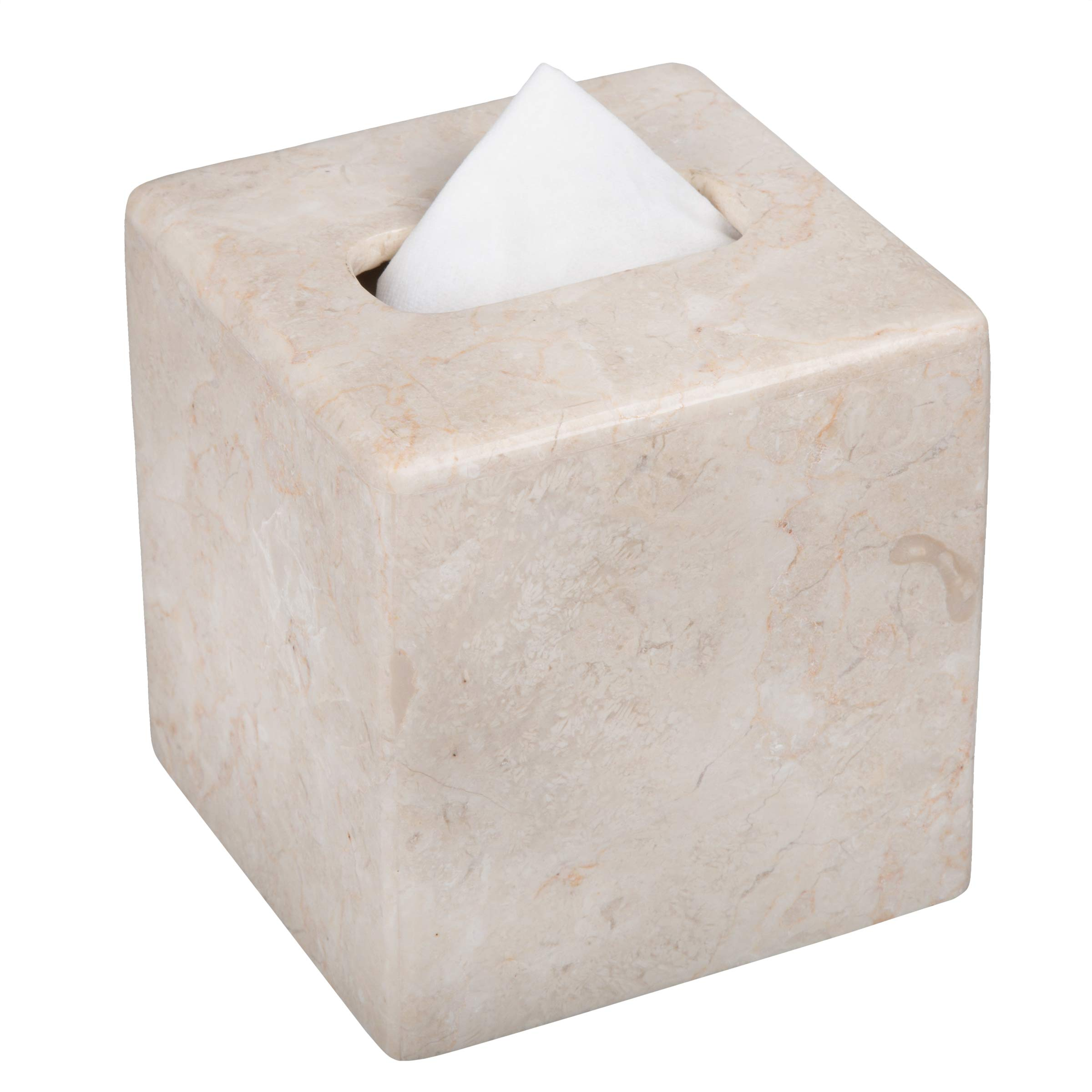 Creative Home Natural Champagne Marble Stone Tissue Box Cover, Holder, 5-1/8'' x 5/18'' x 5-1/2'' H by Creative Home