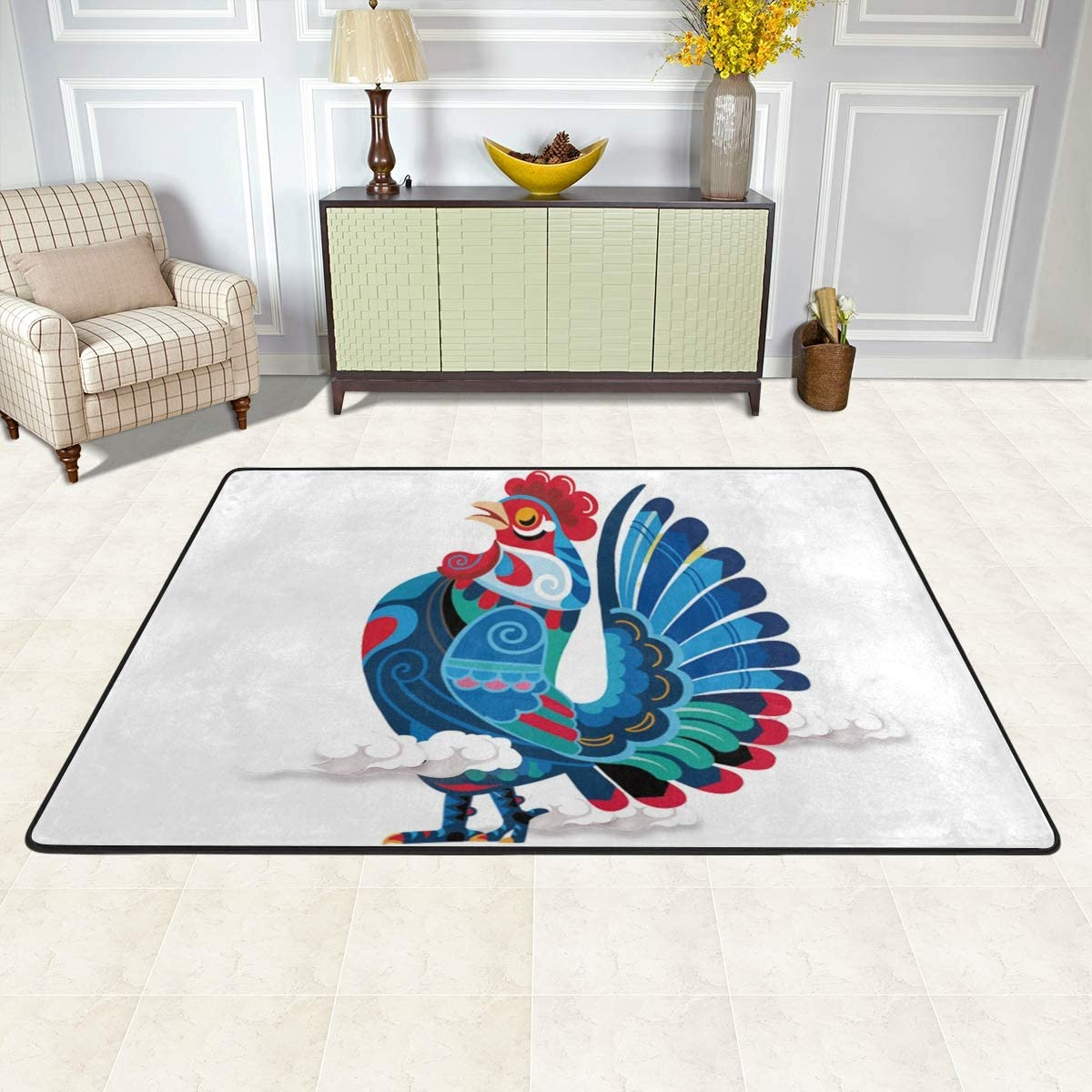 Amazon Com Malplena Rooster Painted Rugs For Living Room Doormat