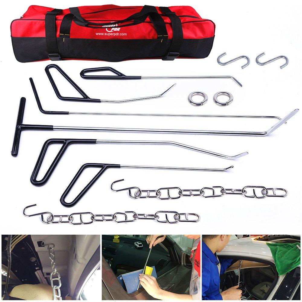 Car Body Painless Dent Repair Kits AUTOPDR Pops a Dent Kits Dent Puller Painless Dent Removal Remover Tools Pdr Rod Tool Kit Hail and Door Ding Repair Starter Set with Tool Bag (Black)