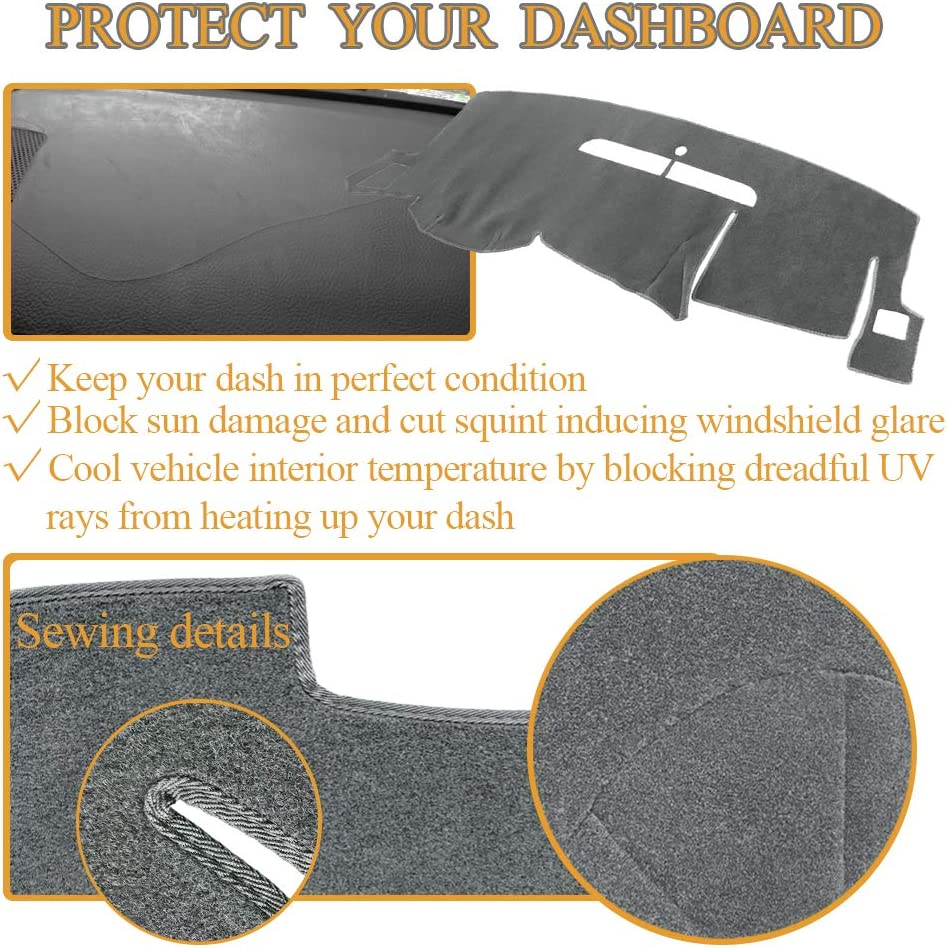 Y44 99-06 Black Yiz Dash Cover Dashboard Cover Pad Mat Custom for GMC Sierra 1999-2006,Chevy Chevrolet Silverado 1999-2006