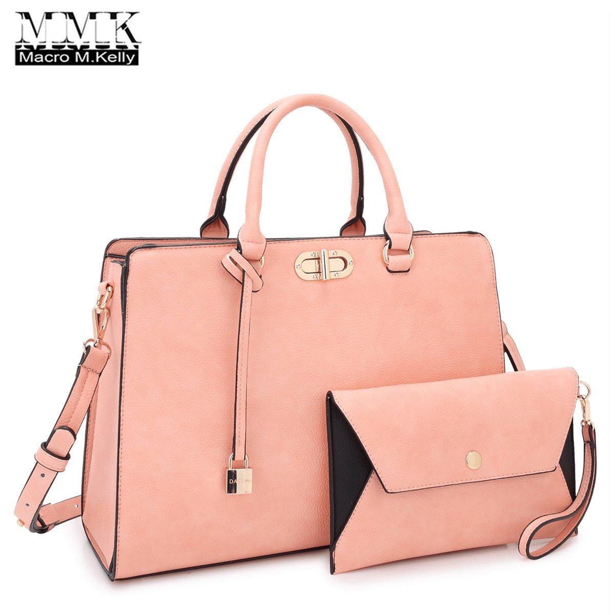 MMK collection Fashion Women Purses and Handbags Ladies Designer Satchel Handbag Tote Bag Shoulder Bags with coin purse (XL-23-7581-pink)