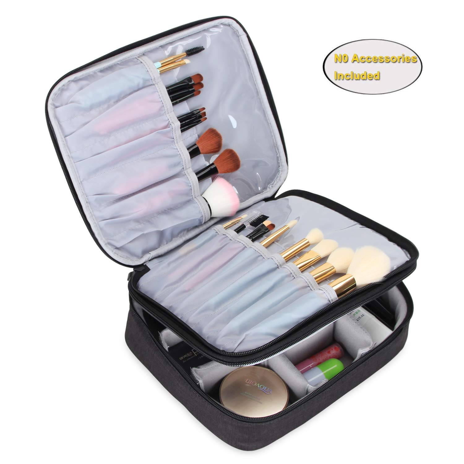 "Teamoy Travel Makeup Brushes Bag(up to 10""), Professional Makeup Train Case for Makeup Brushes and cosmetics, Portable and Multifunctional-Large, ..."