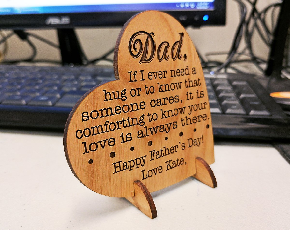 Custom Engraved Alder Wood Greeting Card for Dad Personalized Heart Shaped Fathers Day, Birthday, Chrismas, Thank You Unique Daddy Godfather Grandpa Dad Gift from Kids Wife for Him Comes with Stand by Greeting Card-by-StockingFactory (Image #2)