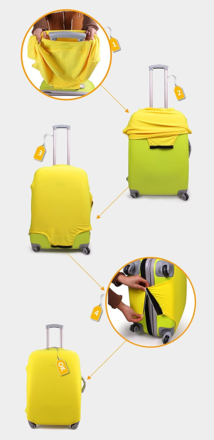 HUGS IDEA 18//20//22 Inch Travel Elastic Luggage Covers Protectors Spandex Suitcase Cover