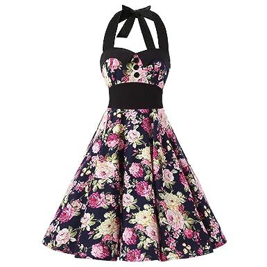 Brinny Rockabilly kleid 50er Blumen Druck Kleid Neckholder kleid ...
