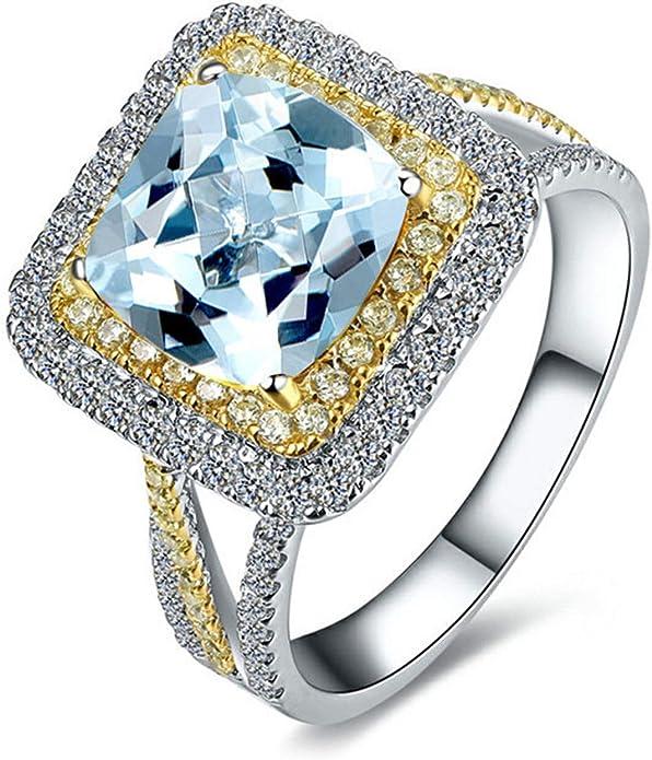 Blisfille Joyas Anillos Compromiso Mujer Diamante Anillo de Round Anillo Hombre Oro Diamante Anillo de Plata de Ley 925,Plata del Tamaño 25: Amazon.es: Joyería