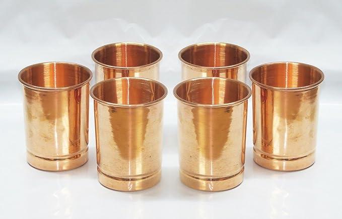 Amazon.com: Hecho a mano 6 pcs lote 100% cobre puro Ayurveda ...