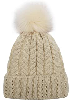 7dea76385e0 Women Knit Hat Winter Beanie with PomPom Slouchy Hats Skull Cap Thick  Fleece Lining