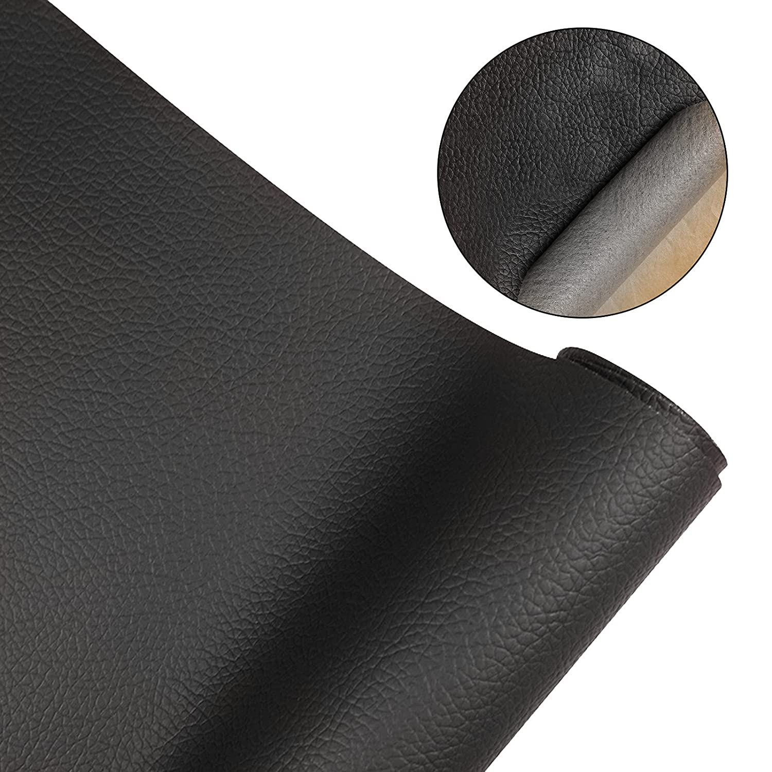 Leather Repair Patch Kit, 20x55inch Self-Adhesive Leather Repair Tape Anti Scratch Couch Repair Kit for Couches, Car Seat, Furniture, Wall (Black)
