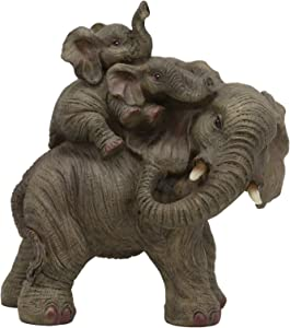 """Ebros Small Wildlife Elephant Father and 2 Calves On Piggyback Playing Statue 5.25"""" Tall Resin Safari Elephants Family Figurine Sculpture Decor Gifts"""