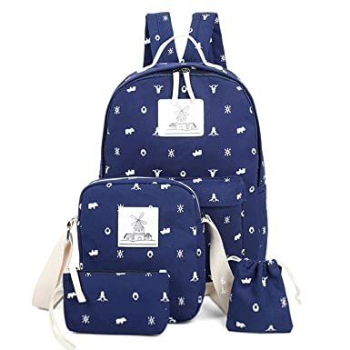 MAYZERO Casual Canvas Backpack Cute Lightweight Backpacks Shoulder Bags  Schoolbags for Teen Girls Boys (Set 9f7a4cf1df990