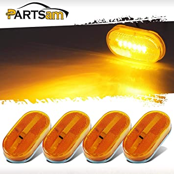 "2x Amber Side Marker Camper Trailer RV Boat Lights 6 LED Clearance Lamps 4/"" x 2/"""
