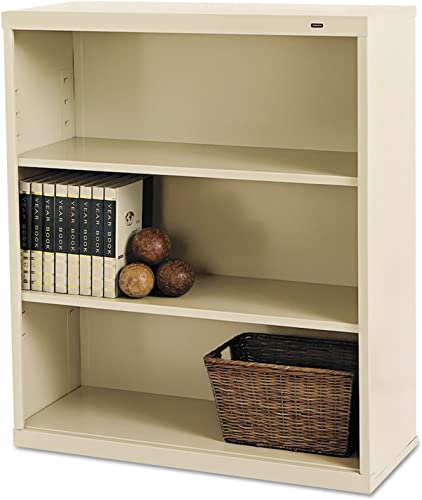 TENNSCO B42PY Metal Bookcase, Three-Shelf, 34-1 2w x 13-1 2d x 40h, Putty
