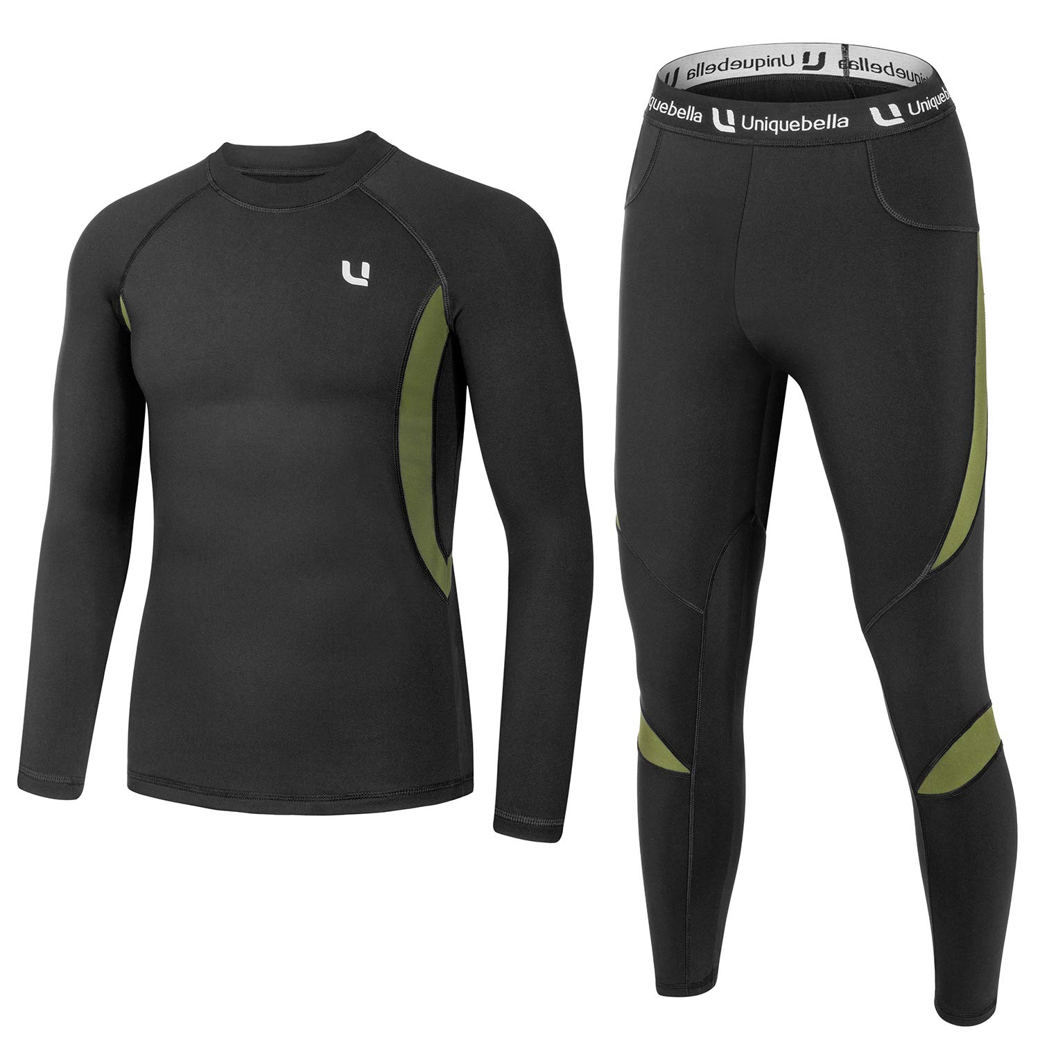 UNIQUEBELLA Men's Thermal Underwear Sets Top & Long Johns Fleece Sweat Quick Drying Thermo (Sets Black, XXL) by UNIQUEBELLA