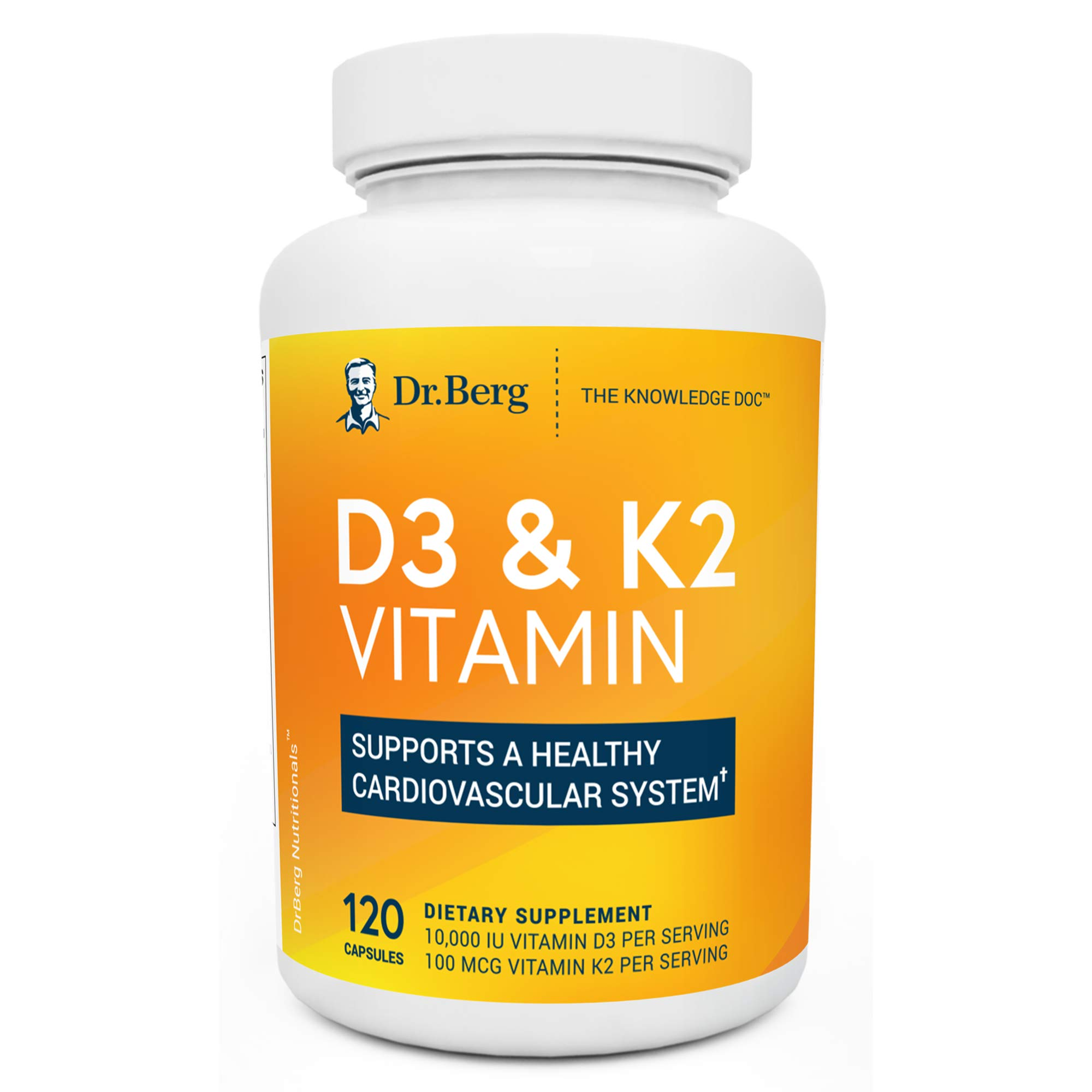 Dr. Berg's D3 & K2 Vitamin - D3K2 Supplement w/ Purified Bile Salts - Support Healthy Heart, Bone & Joint - 10,000 IU of Vitamin D3 & 100 mcg of Vitamin K2 MK7 - 120 Capsules