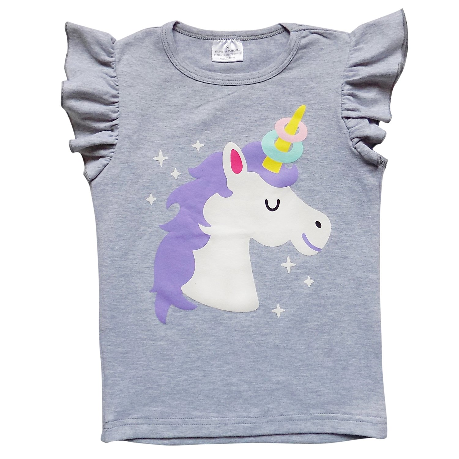 So Sydney Toddler & Girls Summer Raglan Flutter Sleeve Novelty T-Shirt (XL (6), Donut Unicorn)