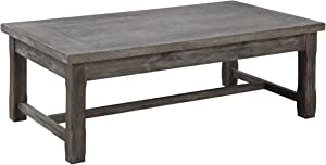 Emerald Home Paladin Rustic Charcoal Gray Coffee Table with Plank Style Top And Farmhouse Timber Legs