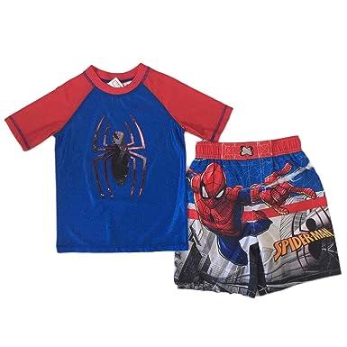 194ca8b626217 Amazon.com: Spider-Man Little Boys Swim Trunks Rash Guard Set: Clothing