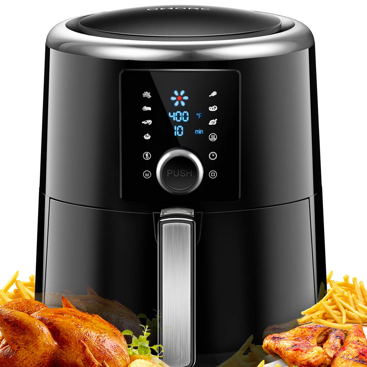OMORC Air Fryer, 2019 Coating Upgraded 6Qt Hot Air Fryer Oven, Nonstick Material, Dishwasher Safe, w/Quick Knob & Touch Screen, 8-15 Presets, Preheat& Time display, 2-Year Warranty