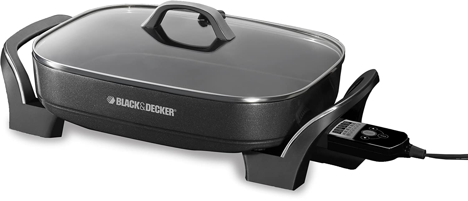 BLACK+DECKER Smart Skillet with Digital Temperature Control Probe with One Touch Cooking Functions, Black, SK1010BC Black & Decker