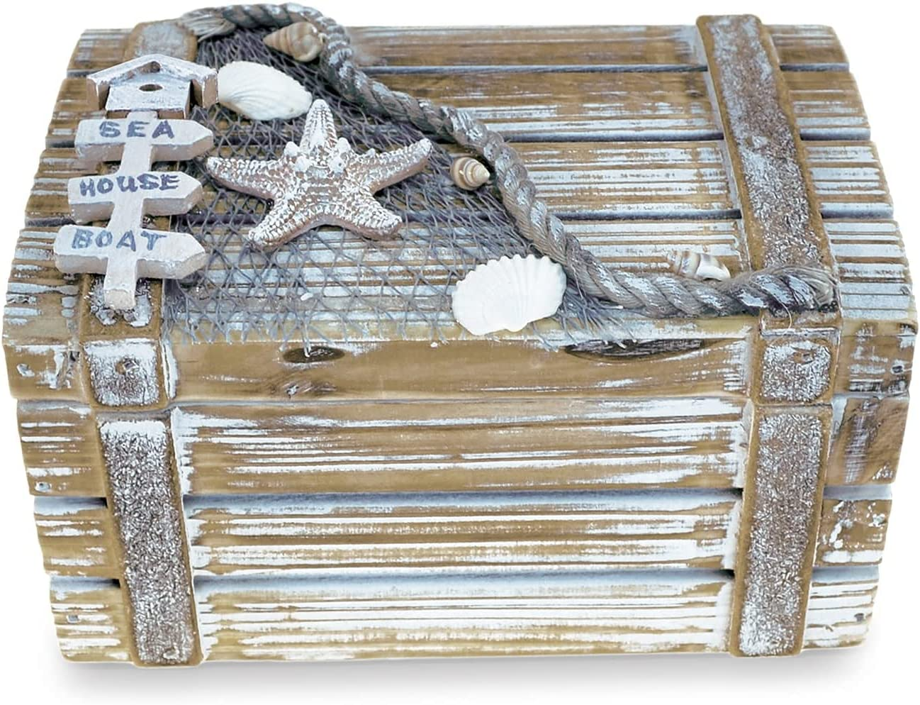 Baja Medium Rustic Wood Nautical Jewelry Box, 6.75