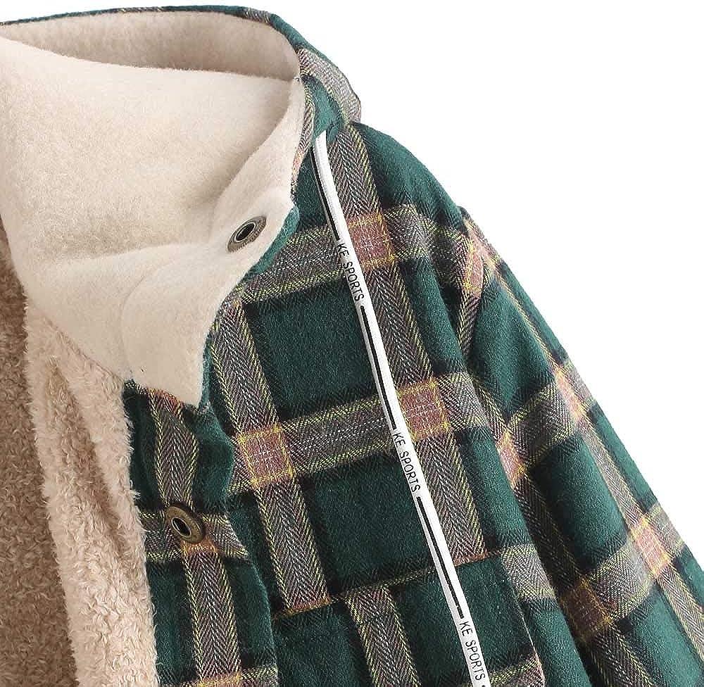 ZAFUL Casual Plaid Fleece Jacket Flannel Lined Unisex Men Drawstring Hooded Fuzzy Hoodie