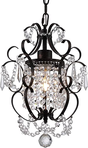 Riomasee Mini Chandelier Antique Bronze Chandeliers 1 Light Elegant Chandelier Crystal Iron Ceiling Light Fixture for Bedroom,Girls Room,Bathroom