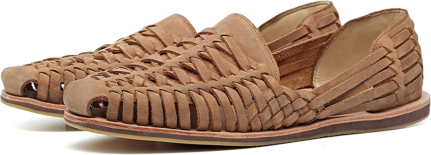 Nisolo Men's Traditional Woven Closed Toe Genuine Leather Huarache Sandal  with Rubber Sole