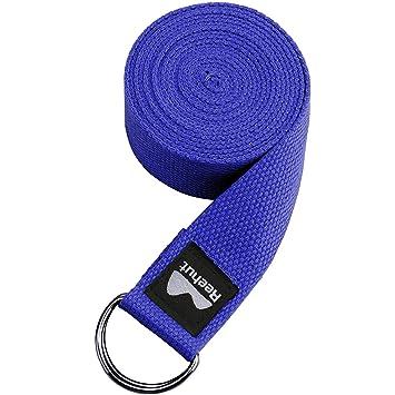 REEHUT Correa para Yoga (1.8m, 2.4m, 3m) – Correa de algodón Resistente para Ejercicios con Hebilla de Anilla metálica en Forma de D para Ejercicios de Estiramiento, Fitness General (Azul,1.8m,6ft)