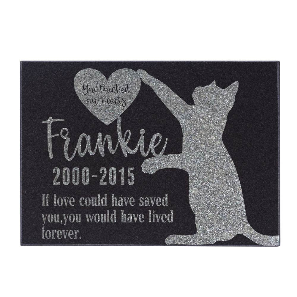 Be Burgundy Personalized Memorial Pet Stone, You Touched Our Hearts - Premium Granite Cat Marker Grave Tombstone - Loss of Pet Gift-6-12X8 by Be Burgundy