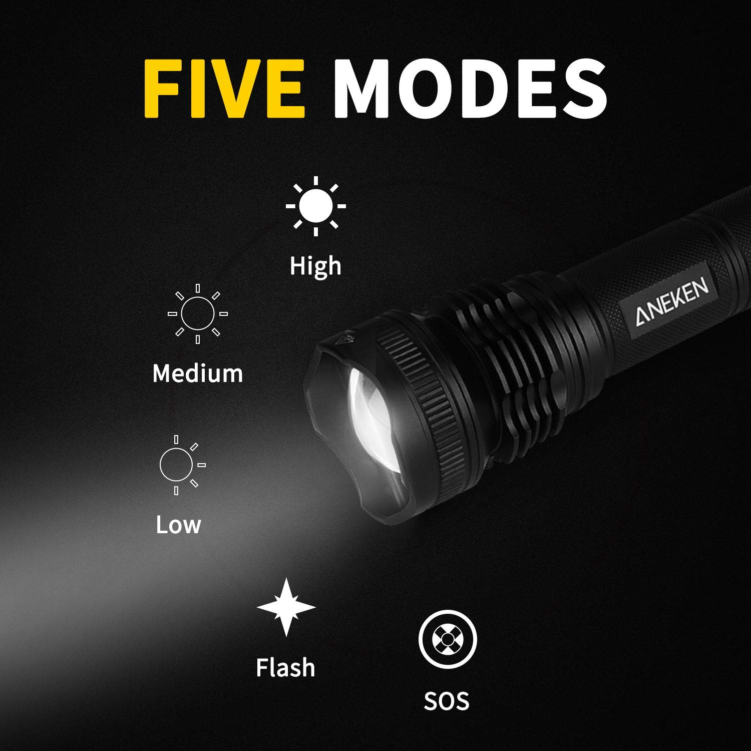 2000LM Outdoor Water Resistant Torch IPX4 Zoomable 1000 Meters Torchlight 5 Light Modes for Camping Hiking and Home Emergency Battery Included Aneken LED Portable Ultra Bright Handheld Flashlight