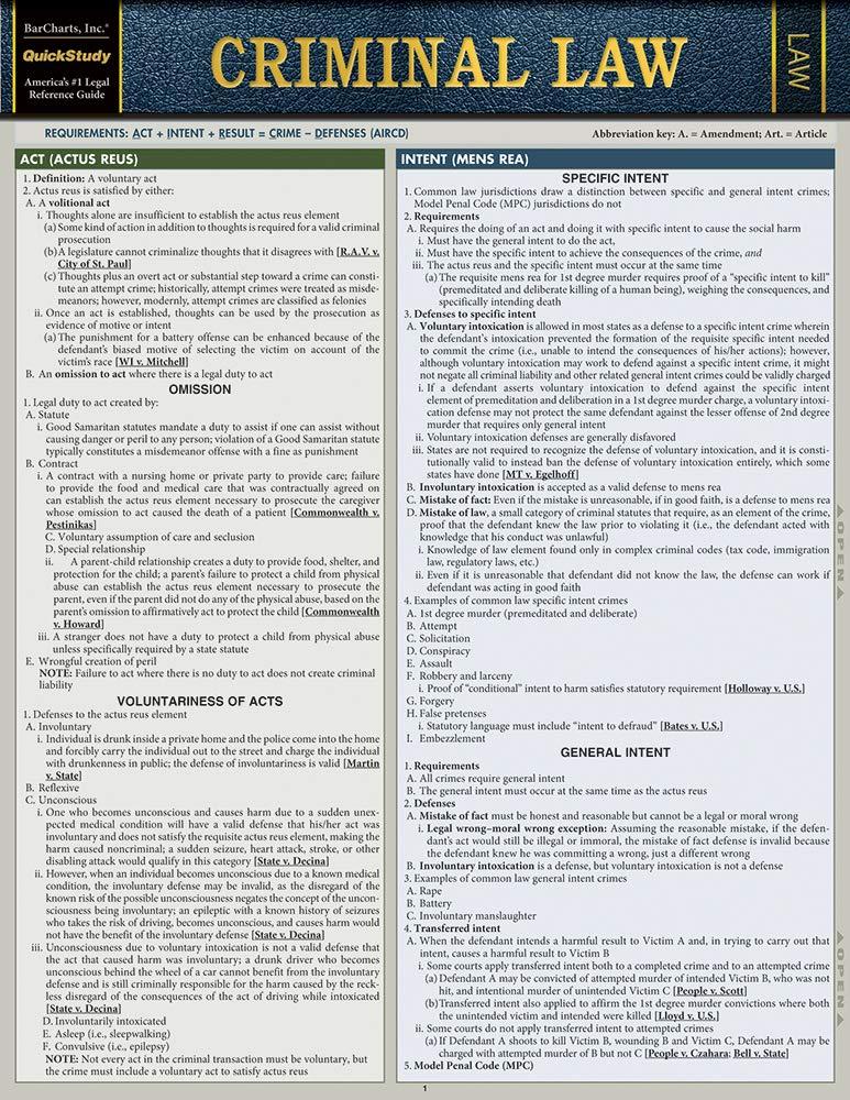 Criminal Law (Quickstudy Law): Barcharts Inc: 9781423233084