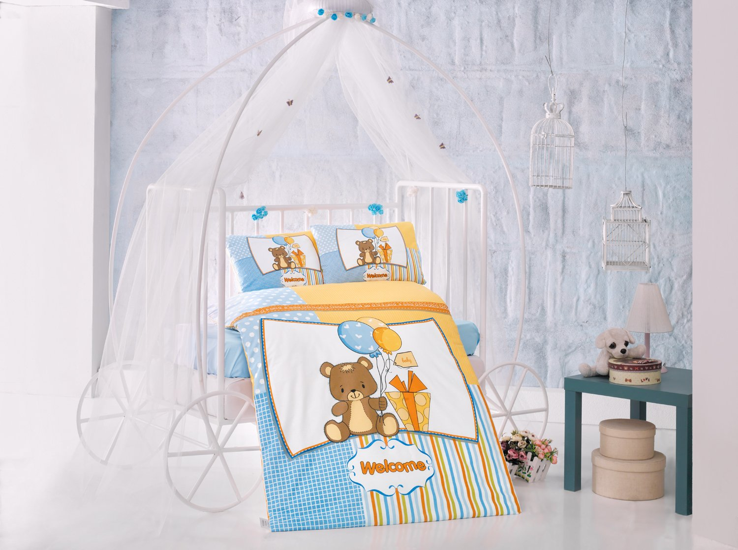 Sweet Bear Blue Baby Cot Bed Duvet Cover Set, 100% Cotton Soft and Healthy 4-Pieces Bedding Set
